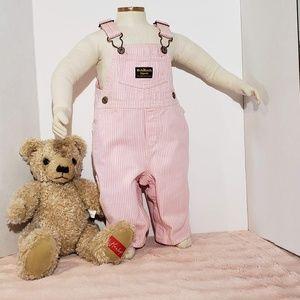Vtg Oshkosh B'Gosh Pink/White Pinstriped Overalls